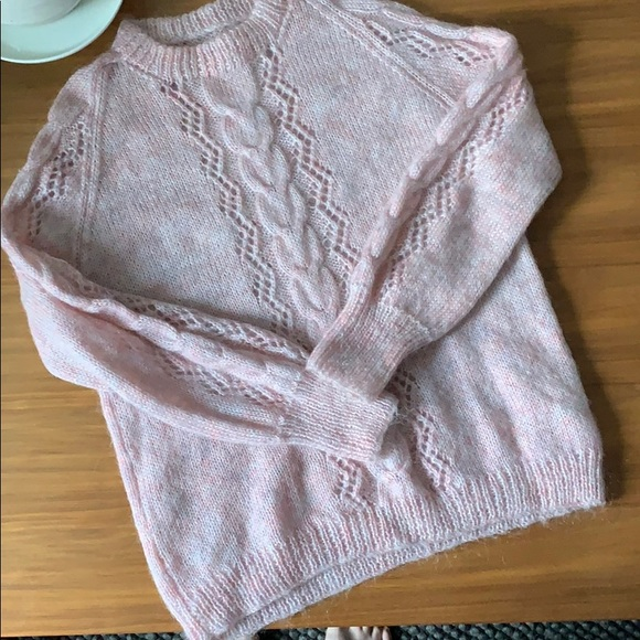 Vintage Sweaters - Oversized Cable Knit Pink Hand Knit Sweater Size L